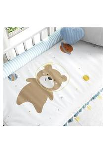 Edredom Berço Amiguinhos Urso Astronauta Gráo De Gente Marrom
