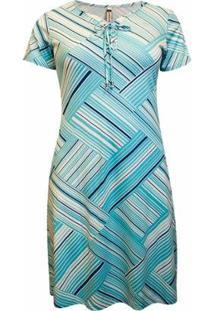 Vestido Pau A Pique Estampado Feminino - Feminino-Azul