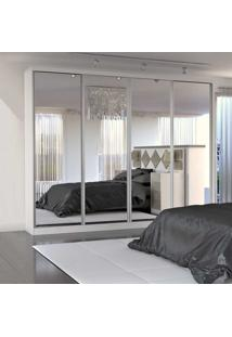 Guarda-Roupa Casal 4 Portas De Espelho 100% Mdf 794 Branco - Foscarini