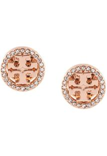Tory Burch Crystal Logo Circle-Stud Earrings - Dourado