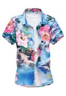 Camisa Masculina Estampa De Rosas - Azul