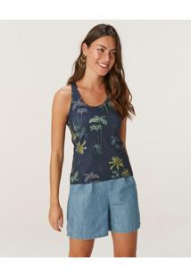 Blusa Coqueiros Em Viscose Stretch Conforto Malwee Azul Marinho - M
