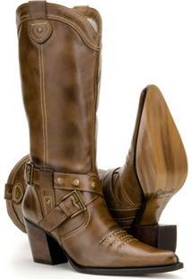 Bota Texana De Couro Country Capelli Boots Feminina - Feminino-Marrom