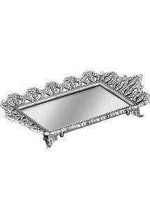 Bandeja Em Metal Com Espelho Prata