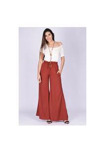 Calça Pantalona Viscose Com Fenda Terracota