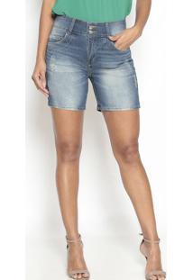 Bermuda Jeans Com Strass- Azul- Doctdoct