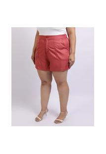 Short Feminino Mindset Plus Size Cintura Alta Com Bolsos Rosa Escuro