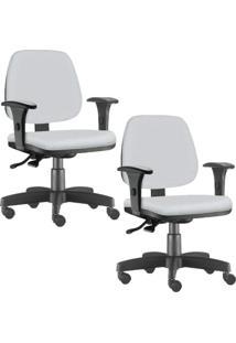 Kit 02 Cadeiras Giratórias Lyam Decor Job Corino Branco