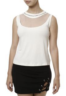 Blusa Regata Hellen Fashion Feminina - Feminino-Off White