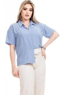 Blusa Clara Arruda Minimalista 20582 Feminina - Feminino-Azul