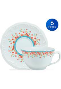 Conjunto 6 Xícaras De Chá Com Pires Valentina - Schmidt - Branco