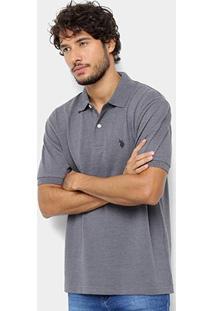 Camisa Polo U.S. Polo Assn Básica Lisa Masculina - Masculino-Cinza
