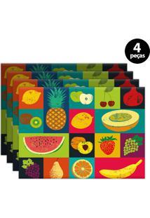 Kit 4Pçs Jogo Americano Mdecor Frutas 40X28Cm Verde