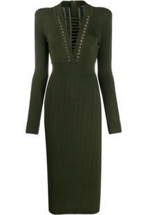 Balmain Vestido De Tricô - Verde