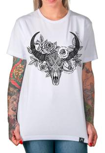 ee6aacd12 ... Camiseta Artseries Caveira De Boi Com Flores Dead Ox Branco