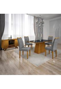 Conjunto Sala De Jantar Completa Com Mesa Tampo Vidro, 4 Cadeiras E Buffet Com Adega Supreme Leifer Imbuia/Preto/Linho Cinza