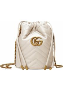 Gucci Bolsa Bucket Gg Marmont Mini - Branco