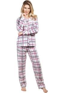 Pijama Inspirate De Inverno Aberto Feminino - Feminino-Branco+Cinza