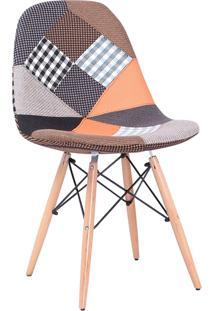 Cadeira Eiffel Sem Braço Tecido Patchwork Branco Rivatti