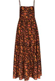 Matteau Vestido Longo Decote Quadrado Com Estampa - Preto