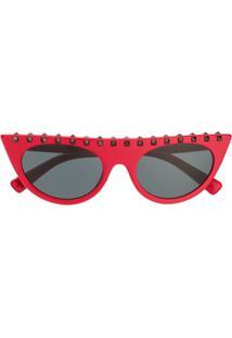 Valentino Eyewear Rockstud Cat Eye Sunglasses - Vermelho