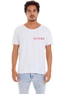 Camiseta Joss Corte A Fio Branca Future Logo Vermelho