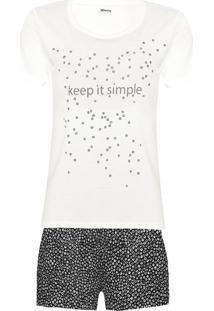 Conjunto De Pijama Feminino Com Blusa De Manga Curta Estampa Em Foil E Shorts Estampado