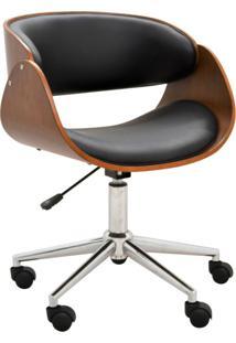 Cadeira Escritório Gran Belo Office Oga Base Giratória Cromada Pu Preta