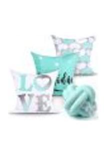 Capa Almofada Love Estampada Tiffany Decorativa Kit 3 Unidades 45Cm X 45Cm + Almofada Nó Escandinavo