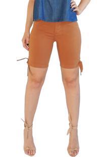 Bermuda Rosa Line Jeans Com Laço Mostarda