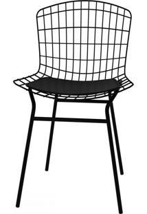 Cadeiras Trama Vinil Preto/Pintada - Pozza