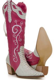 Bota Texana Couro Country Capelli Boots Jacaré Feminina - Feminino-Rosa