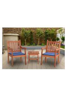 Conjunto 2 Cadeiras Nebel + Mesa De Centro - Azul