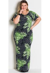 Vestido Longo Folhagem Plus Size