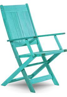 Cadeira Dobrável Gourmet De Madeira Para Piscinas Com Braços Acqualung+ Stain Azul