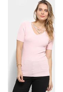 Blusa Pérola Tricot Feminina - Feminino-Rosa