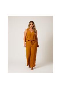 Calça Pantalona Almaria Plus Size Ela Linda Bolso-Faca Amarelo