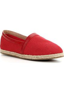 Sapatilha Shoestock Tricot Couro Corda - Feminino-Vermelho