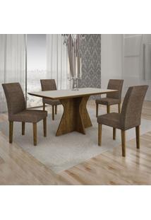 Conjunto De Mesa De Jantar Creta I Com 4 Cadeiras Olímpia Linho Off White E Marrom