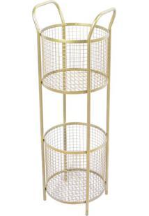 Prateleira De Ferro Com Cestos- Dourada- 84X28,5X26Cdecor Glass