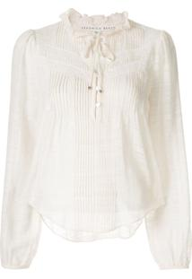 Veronica Beard Pleat-Detailed Cropped Blouse - Branco