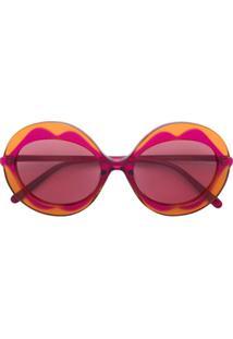 Marni Eyewear Óculos De Sol Com Armação Redonda - Rosa