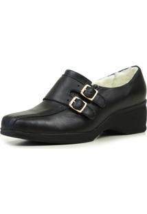 Sapato Fiero Forrado Em Lã Confort Preto