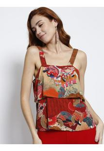 Blusa Floral Com Recorte- Vermelha & Marromlez A Lez