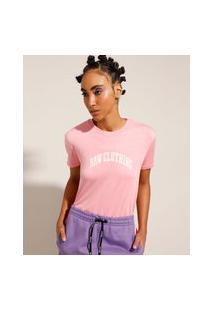 Camiseta Flocada Manga Curta Decote Redondo Baw Clothing Rosa