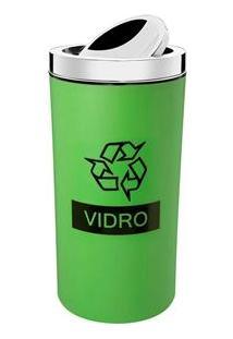 Lixeira Seletiva Para Vidro Brinox Com Tampa Basculante Verde - 9 L