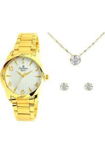 Kit Relógio Feminino Champion Analógico Elegance - Cn25967W Com Acessórios - Feminino-Dourado