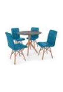 Conjunto Mesa De Jantar Maitê 80Cm Preta Com 4 Cadeiras Eiffel Gomos - Turquesa