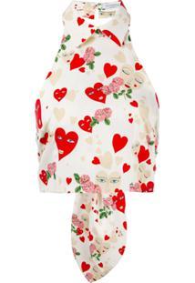 Vivetta Blusa Cropped Com Estampa De Coração - Branco