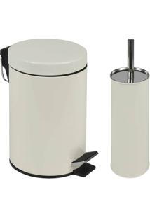 Conjunto Ágata Lixeira 3 Litros E Escova Para Higienização De Vaso Sanitário - Unissex